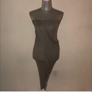 Helmut Lang Grey Draped Strapless Dress